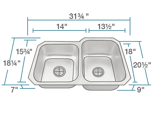 "The dimensions of US1053R Offset Stainless Steel Kitchen Sink is 31 3/4"" x 20 1/2"" x 9"". Its minimum cabinet size is 33""."