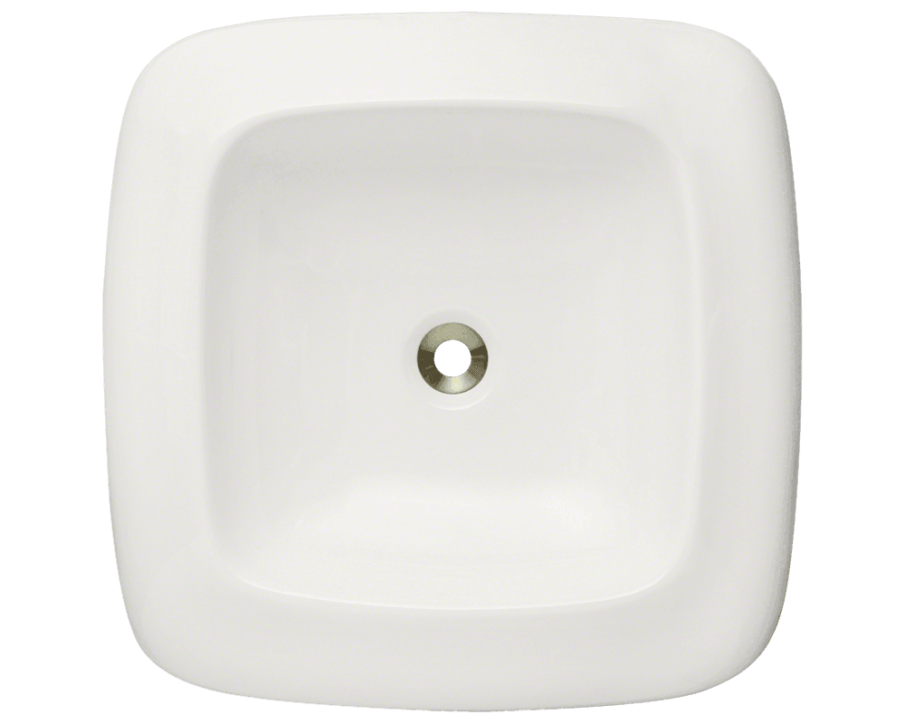 V100-Bisque Alt Image: Vitreous China Square Vessel Bisque Bathroom Sink