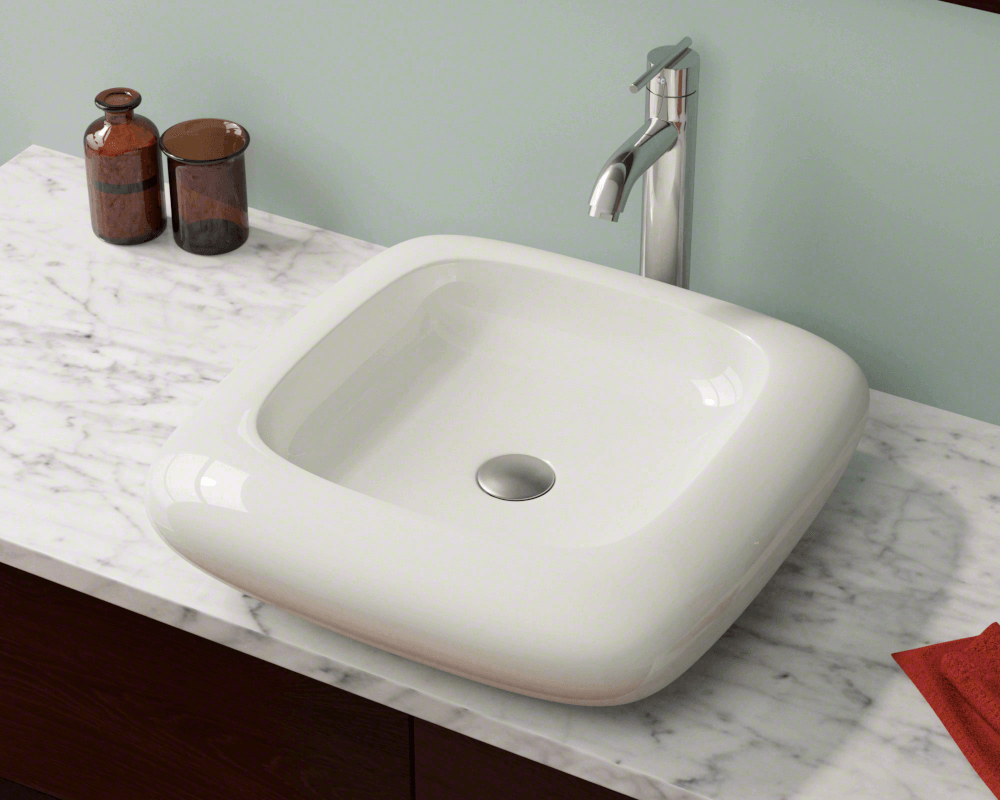 V100-Bisque Lifestyle Image: Vitreous China Square Bisque Vessel Bathroom Sink