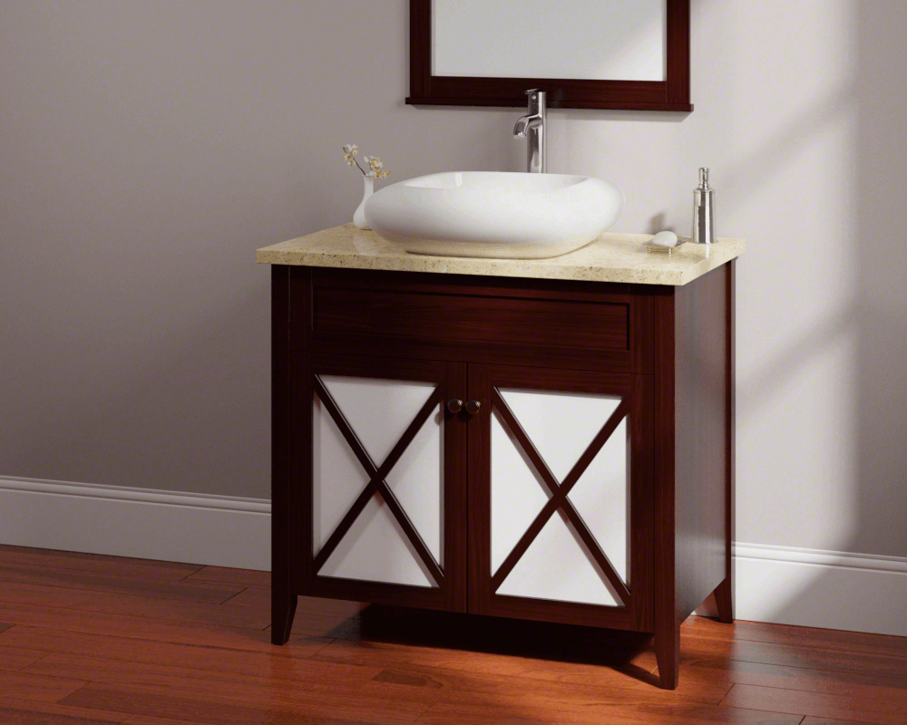 V100-Bisque Lifestyle Image: Vitreous China Square Vessel Bisque Bathroom Sink