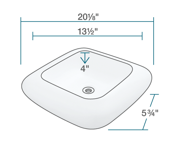 "The dimensions of V100-Bisque Pillow Top Porcelain Vessel Sink is 20 1/8"" x 20 1/8"" x 5 3/4"". Its minimum cabinet size is 21""."