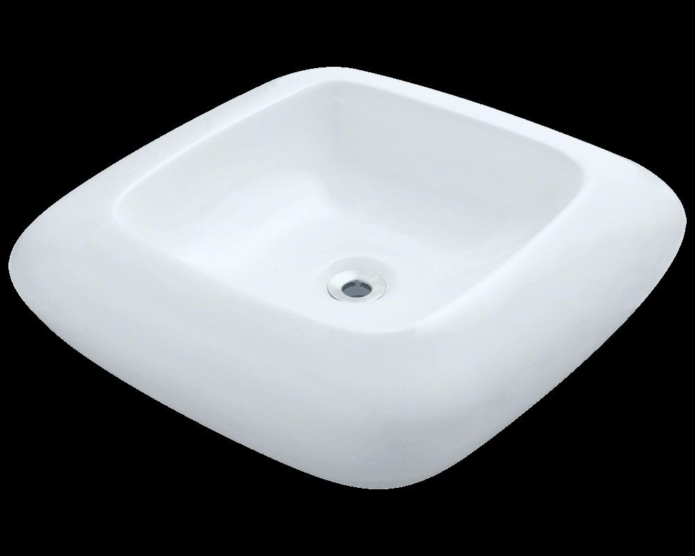 V100 White White Porcelain Vessel Sink