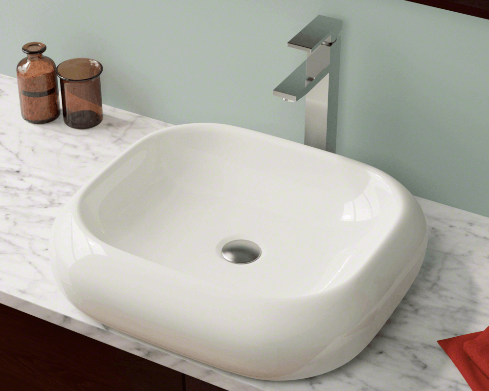 V110-Bisque Lifestyle Image: Vitreous China Rectangle One Bowl Vessel Bathroom Sink