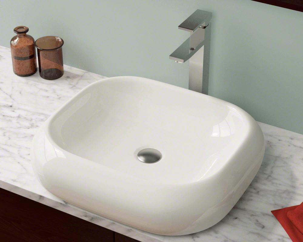 V110 Bisque Bisque Pillow Top Porcelain Vessel Sink