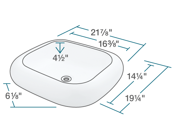 "The dimensions of V110-Bisque Pillow Top Porcelain Vessel Sink is 21 7/8"" x 19 1/4"" x 6 1/8"". Its minimum cabinet size is 21""."