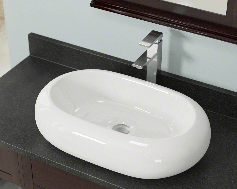 V130-Bisque Lifestyle Image: Vitreous China Oval Bisque Vessel Bathroom Sink
