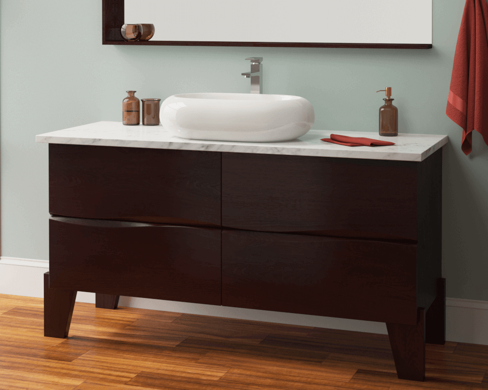 V130-Bisque Lifestyle Image: Vitreous China Oval Vessel Bisque Bathroom Sink
