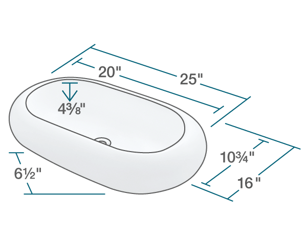 "The dimensions of V130-Bisque Pillow Top Porcelain Vessel Sink is 25"" x 16"" x 6 1/2"". Its minimum cabinet size is 27""."