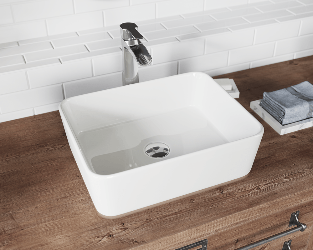 V140-Bisque Lifestyle Image: Vitreous China Rectangle Bisque Vessel Bathroom Sink