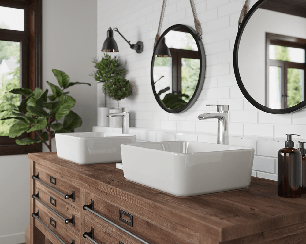 V140-Bisque Lifestyle Image: Vitreous China Vessel Rectangle Bisque Bathroom Sink