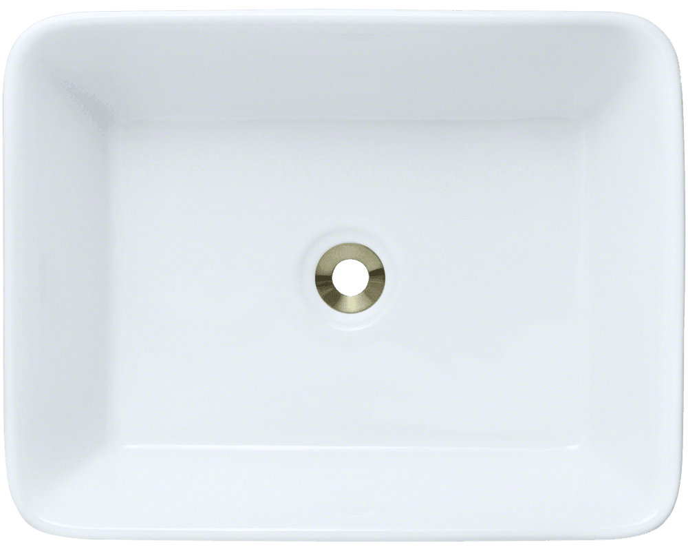 V140-White Alt Image: Vitreous China Rectangle Vessel White Bathroom Sink