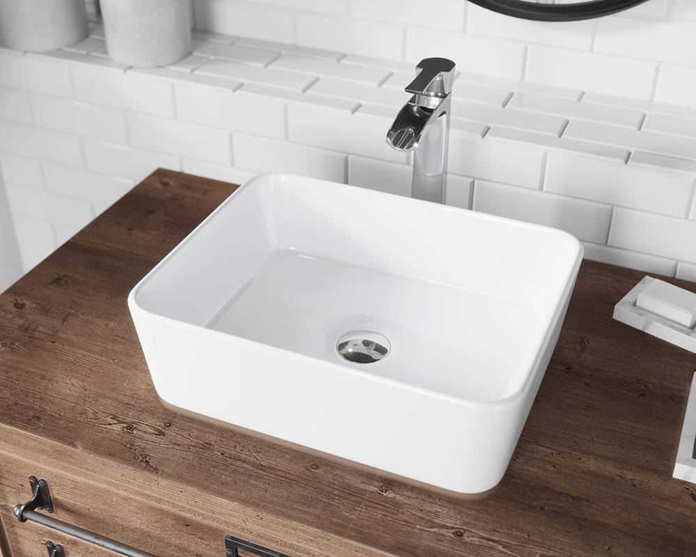 V140 White White Porcelain Vessel Sink