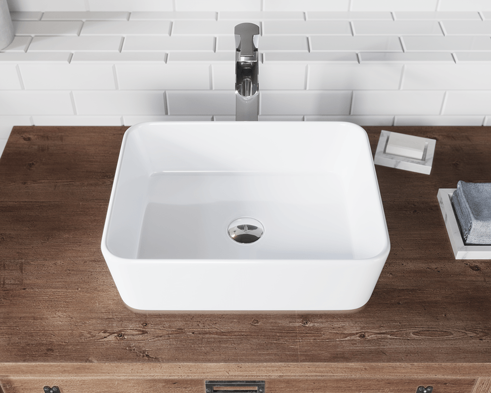 V140-White Lifestyle Image: Vitreous China Rectangle Vessel White Bathroom Sink