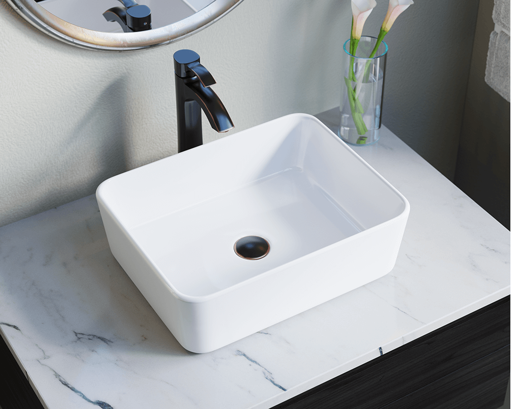 V140-White Lifestyle Image: Vitreous China Vessel Rectangle White Bathroom Sink