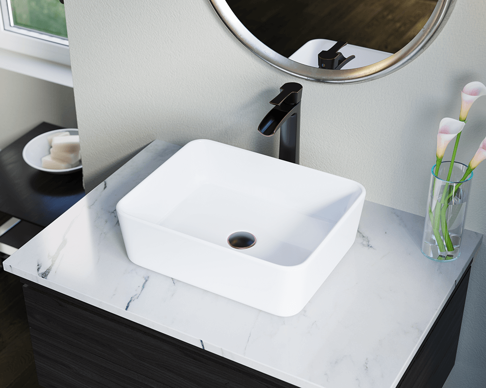 V140-White Lifestyle Image: Vitreous China White Vessel Rectangle Bathroom Sink