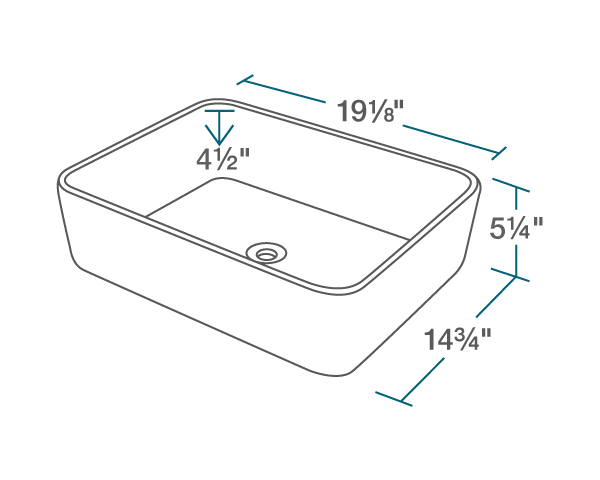 "The dimensions of V140-White Porcelain Vessel Sink is 19 1/8"" x 14 3/4"" x 5 1/4"". Its minimum cabinet size is 21""."