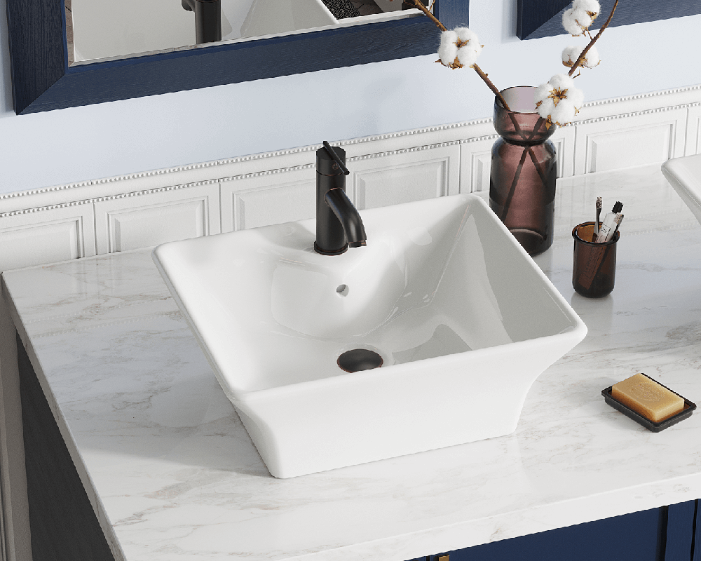 V150-Bisque Lifestyle Image: Vitreous China Vessel Bisque Rectangle Bathroom Sink