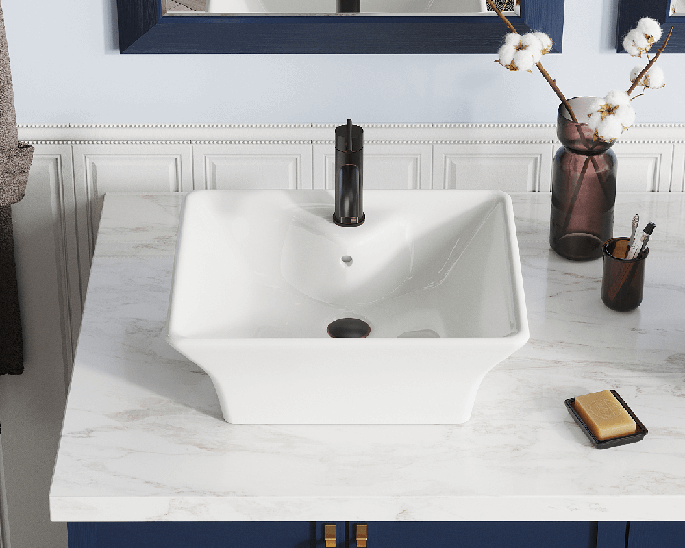 V150-Bisque Lifestyle Image: Vitreous China Rectangle Vessel Bisque Bathroom Sink
