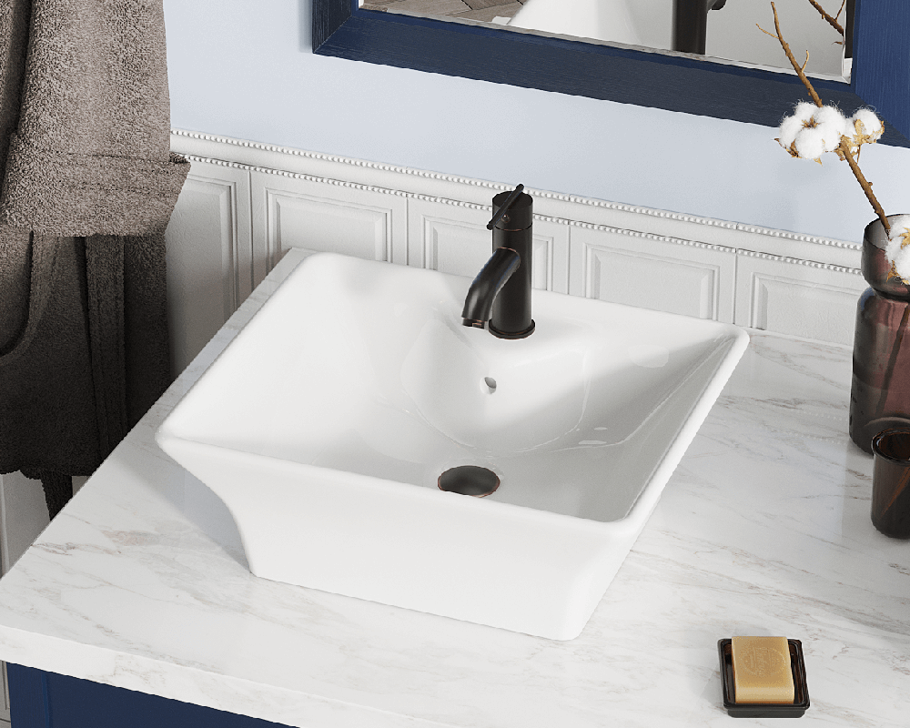 V150-Bisque Lifestyle Image: Vitreous China Rectangle Bisque Vessel Bathroom Sink