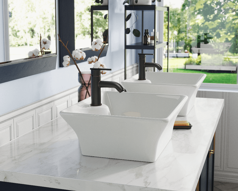 V150-Bisque Lifestyle Image: Vitreous China Vessel Rectangle Bisque Bathroom Sink
