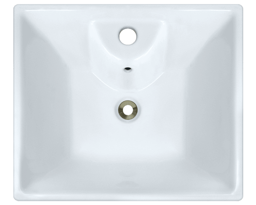 V150-White Alt Image: Vitreous China Rectangle Vessel White Bathroom Sink