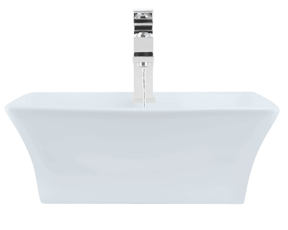 V150-White Alt Image: Vitreous China Rectangle White Vessel Bathroom Sink