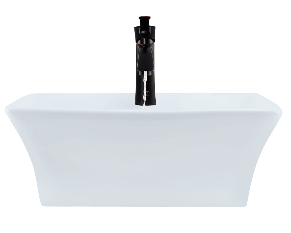 V150-White Alt Image: Vitreous China Vessel White Rectangle Bathroom Sink
