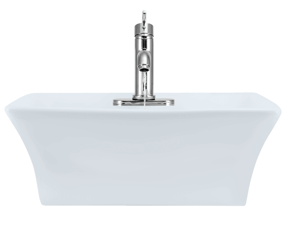 V150-White Alt Image: Vitreous China White Vessel Rectangle Bathroom Sink