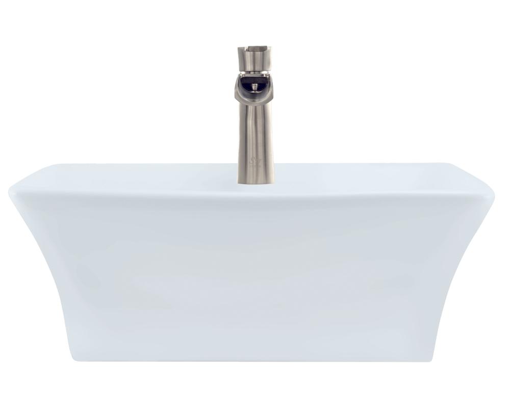 V150-White Alt Image: Vitreous China White Rectangle Vessel Bathroom Sink