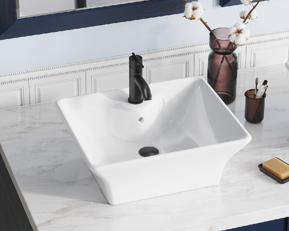 V150-White Lifestyle Image: Vitreous China Vessel White Rectangle Bathroom Sink