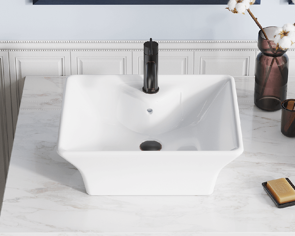 V150-White Lifestyle Image: Vitreous China Rectangle Vessel White Bathroom Sink