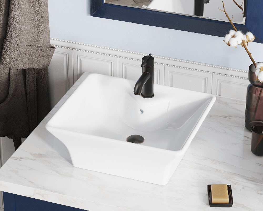 V150-White Lifestyle Image: Vitreous China Rectangle White Vessel Bathroom Sink