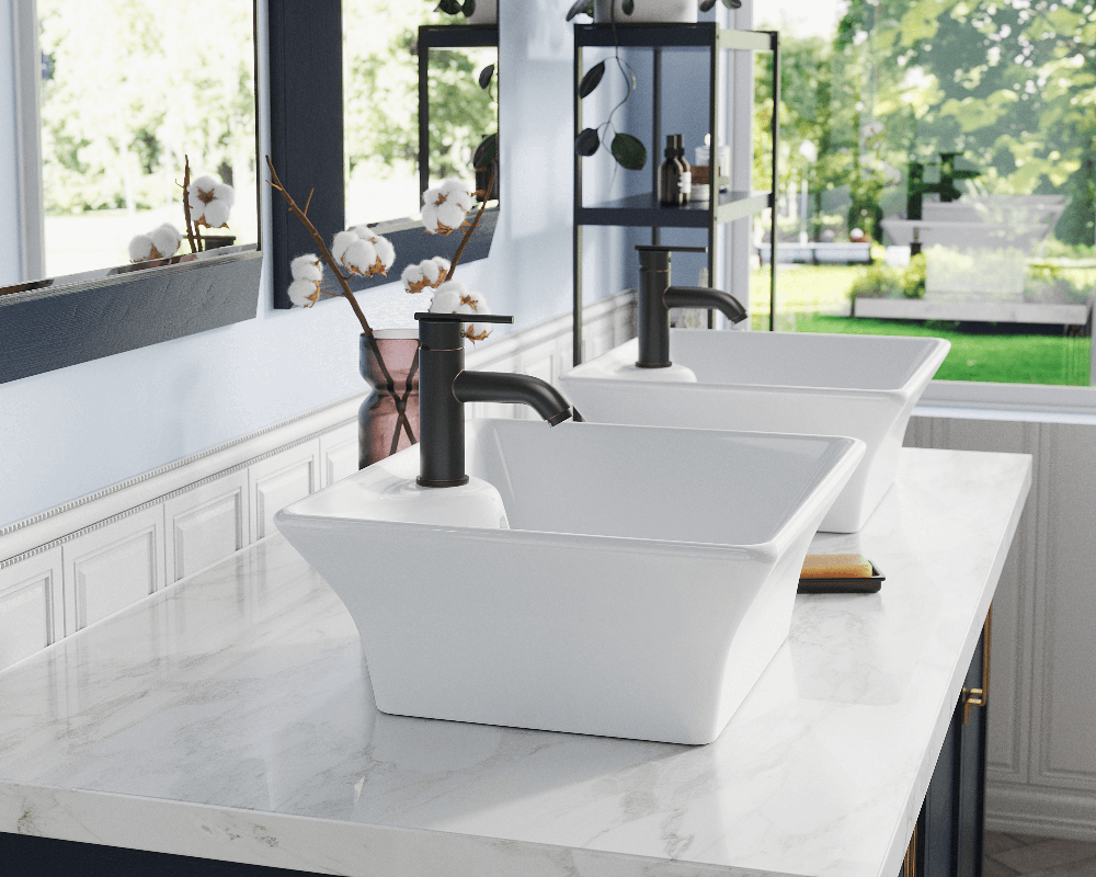 V150-White Lifestyle Image: Vitreous China Vessel Rectangle White Bathroom Sink