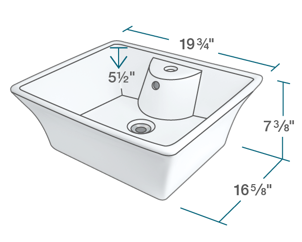 "The dimensions of V150-White Porcelain Vessel Sink is 19 3/4"" x 16 5/8"" x 7 3/8"". Its minimum cabinet size is 21""."