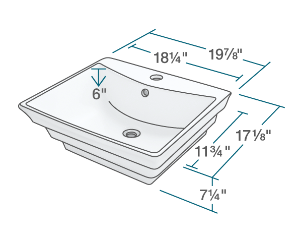 "The dimensions of V160-White Porcelain Vessel Sink is 19 7/8"" x 17 1/8"" x 7 1/4"". Its minimum cabinet size is 21""."