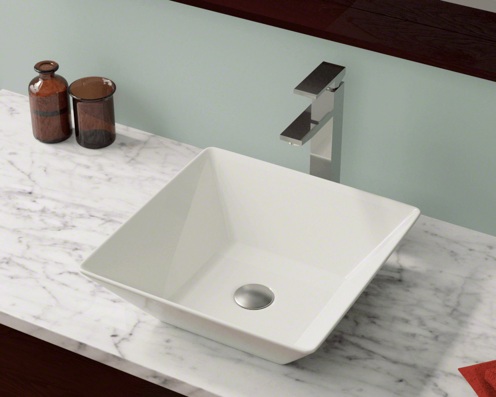 V170-Bisque Lifestyle Image: Vitreous China Square Bisque Vessel Bathroom Sink