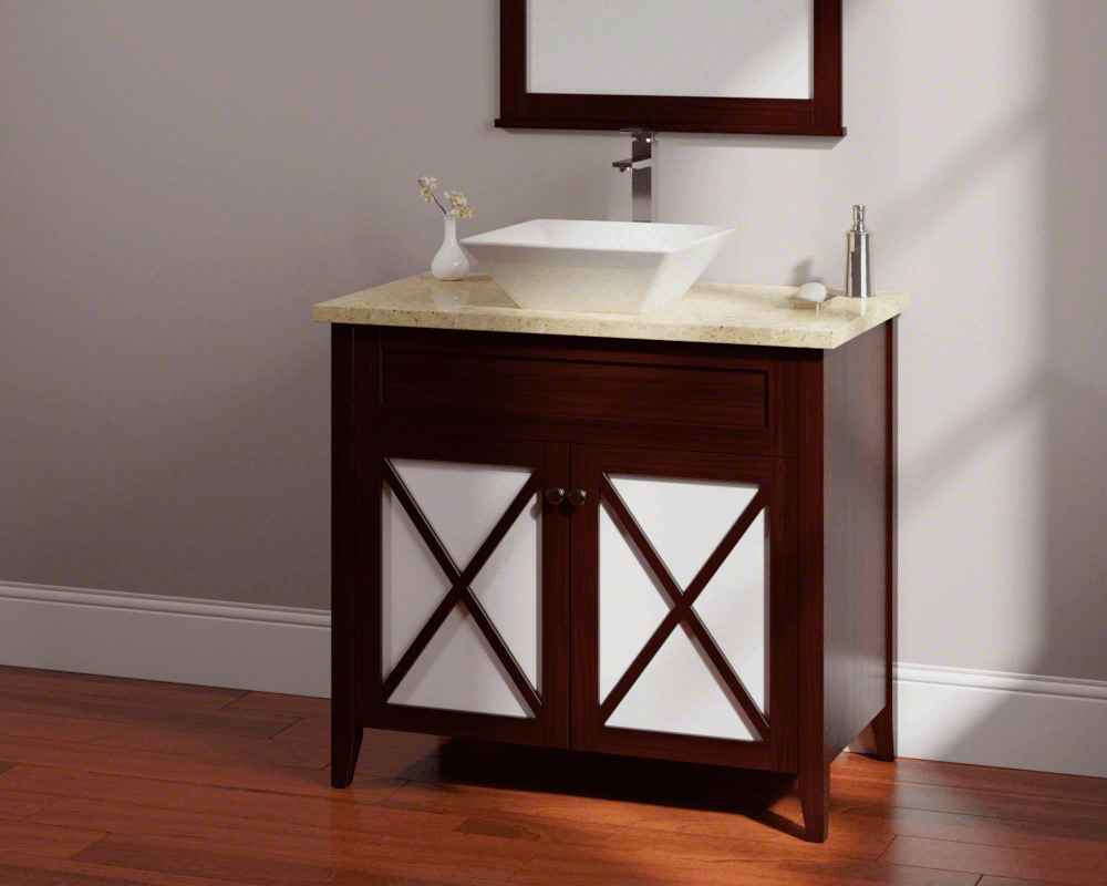 V170-Bisque Lifestyle Image: Vitreous China Square Vessel Bisque Bathroom Sink