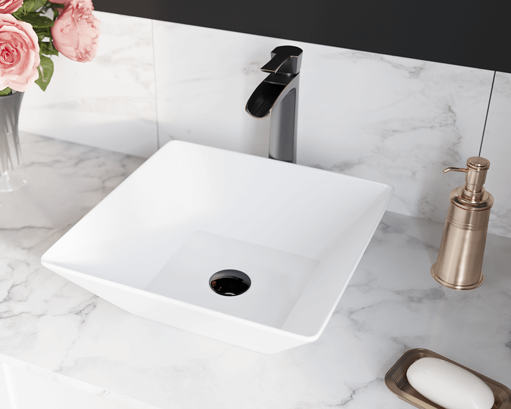 V170-White Lifestyle Image: Vitreous China Vessel White Square Bathroom Sink
