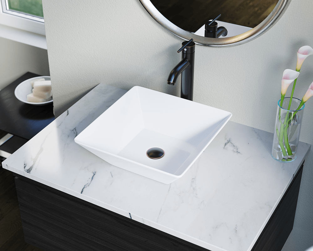 V170-White Lifestyle Image: Vitreous China Square White Vessel Bathroom Sink