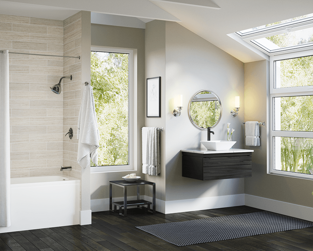 V170-White Lifestyle Image: Vitreous China Vessel Square White Bathroom Sink