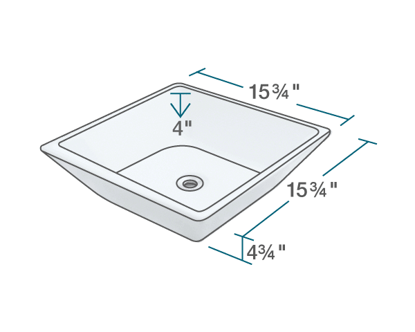 "The dimensions of V170-White Porcelain Vessel Sink is 15 3/4"" x 15 3/4"" x 4 3/4"". Its minimum cabinet size is 18""."
