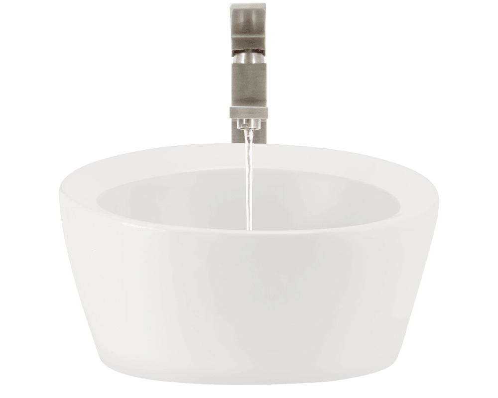 V190-Bisque Alt Image: Vitreous China Vessel Round One Bowl Bathroom Sink