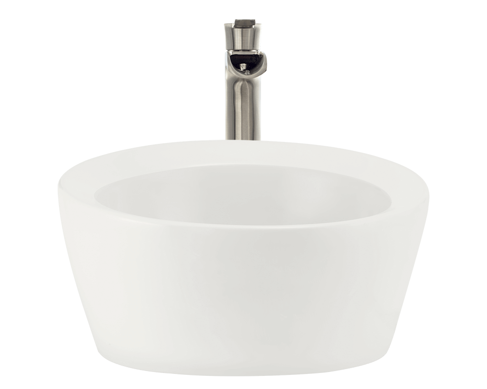 V190-Bisque Alt Image: Vitreous China One Bowl Vessel Round Bathroom Sink