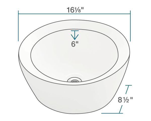 "The dimensions of V190-Bisque Porcelain Vessel Sink is 16 1/8"" x 16 1/8"" x 8 1/2"". Its minimum cabinet size is 18""."