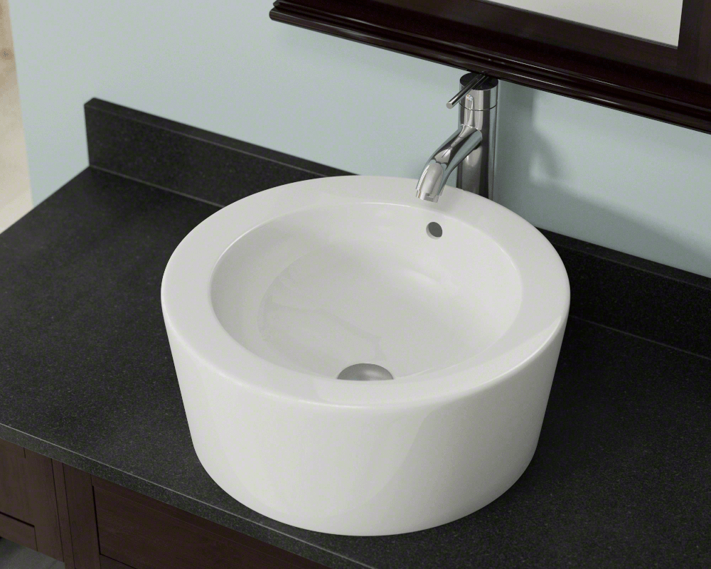 V1902-Bisque Lifestyle Image: Vitreous China Vessel Limited Lifetime One Bowl Bathroom Sink