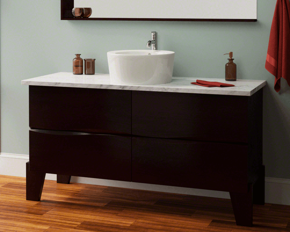 V1902-Bisque Lifestyle Image: Vitreous China Vessel One Bowl Limited Lifetime Bathroom Sink