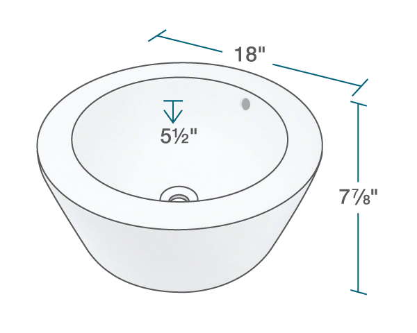 "The dimensions of V1902-Bisque Porcelain Vessel Sink is 18"" x 18"" x 7 7/8""."