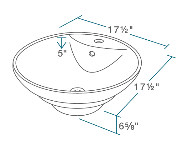 "The dimensions of V2003-White Porcelain Vessel Sink is 17 1/2"" x 17 1/2"" x 6 5/8"". Its minimum cabinet size is 21""."