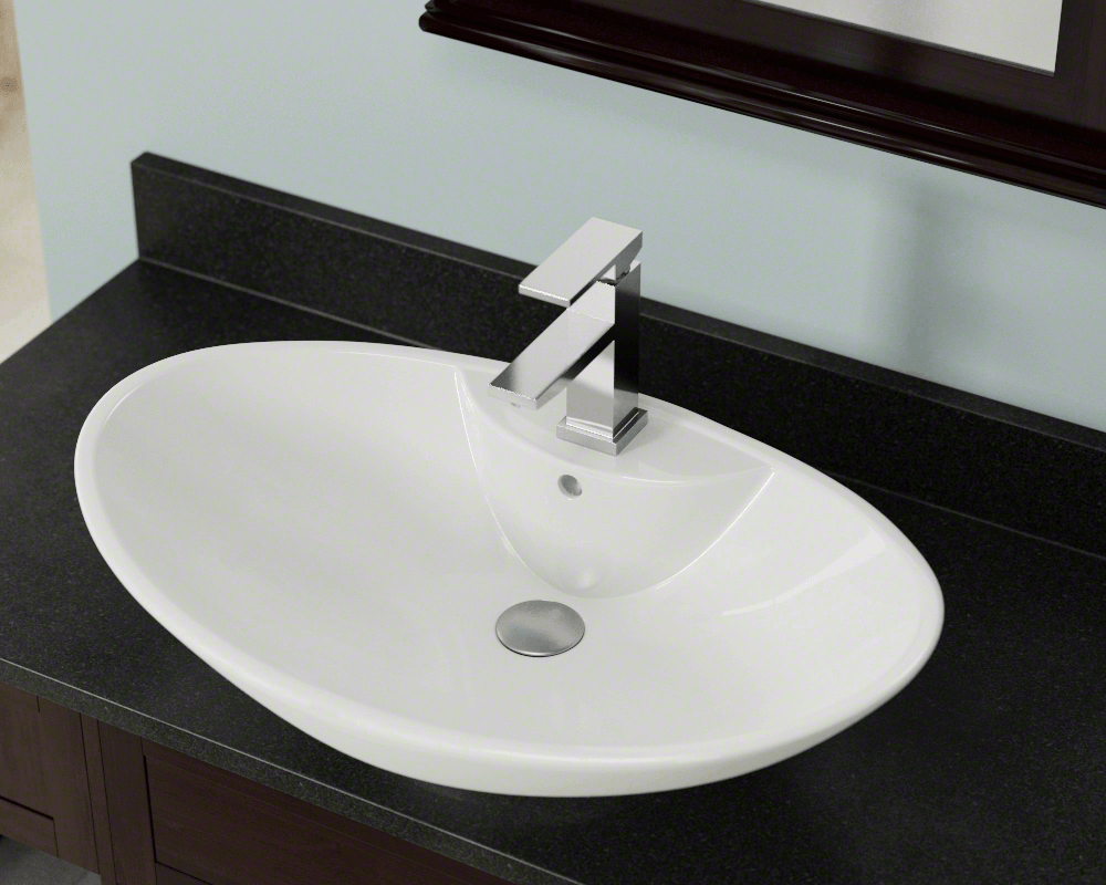 V2102-Bisque Lifestyle Image: Vitreous China Oval Bisque Vessel Bathroom Sink