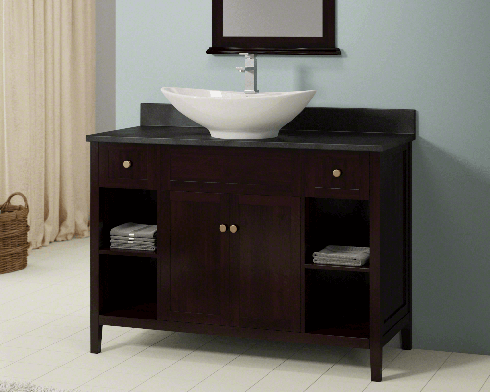 V2102-Bisque Lifestyle Image: Vitreous China Oval Vessel Bisque Bathroom Sink